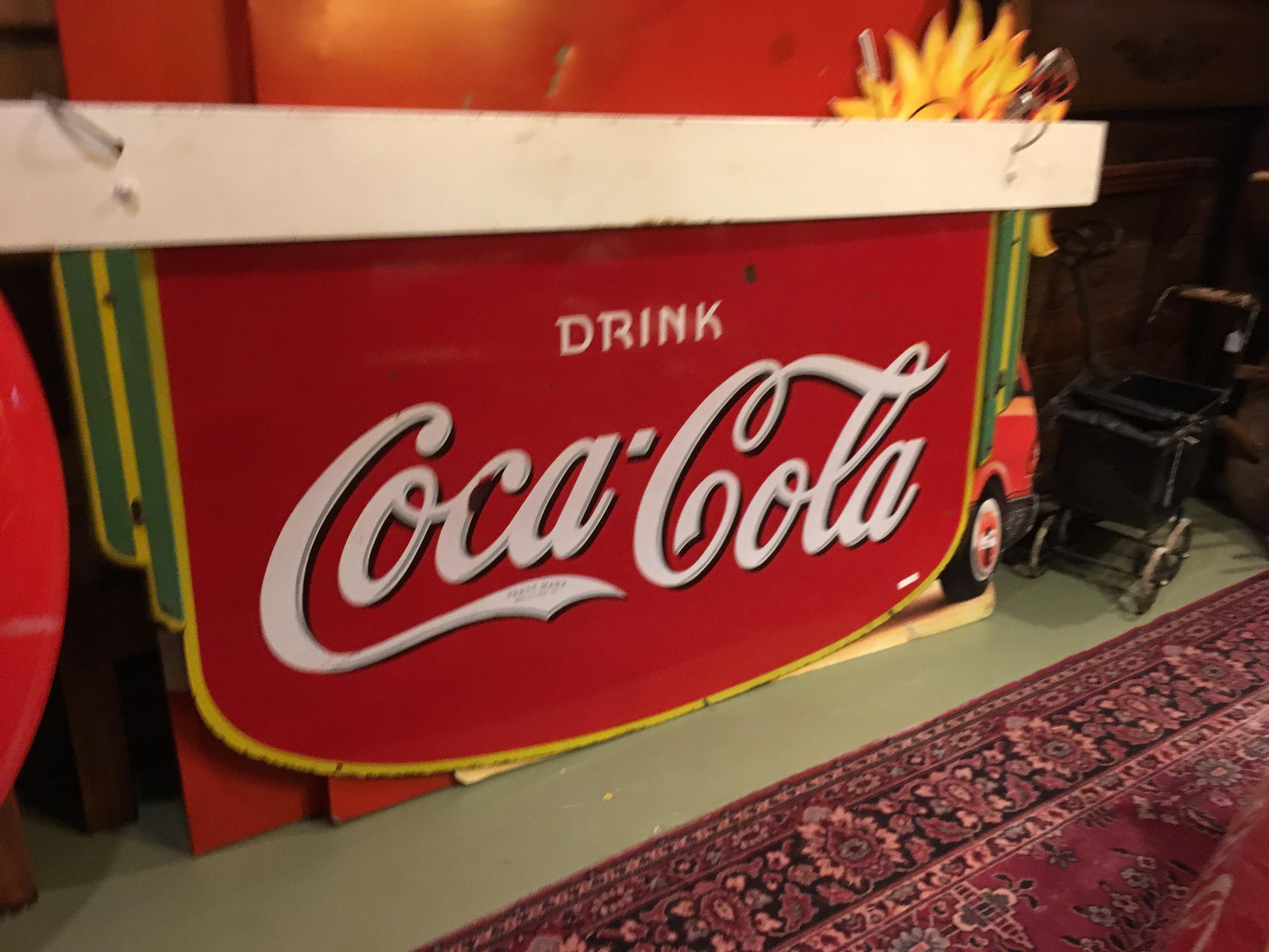 coca cola art deco fountain 2 sided sign 1935 68 x 37 archer 39 s antiques. Black Bedroom Furniture Sets. Home Design Ideas